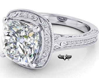 3 Carat Moissanite Engagement RingTrek #1 quality D-E-F or G-H Color  14kt White Gold,Decorative,Cushion Cut Halo Style, Side Diamonds #8289