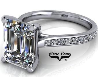 Emerald Cut Moissanite Engagement Ring Trek Quality #1 D-E or G-H Color VVS Clarity 14 kt. Platinum #7055P