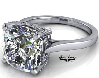 Moissanite Engagement Ring 14 kt White Gold, Trek Quality #1 Cushion Excellent Cut  VVS Clarity D-E Colorless or G-H near Colorless  #7033