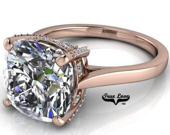 Moissanite Engagement Ring 14kt Rose Gold, Trek Quality #1, Wedding Ring, Solitaire #6995
