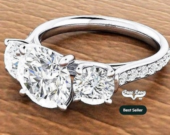 Moissanite Engagement Ring  Center stone from .50 up to 6 Carat 14 kt White Gold, Pictures shown with 8 mm 2 Carat center Stone #7041