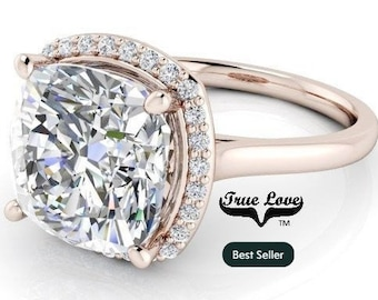 2.05,3.30 or 5 Carat  Moissanite  Cushion cut  Trek #1 quality D-E Colorless  or G-H Near Colorless Eng. Ring 14 kt Gold Halo  #8294