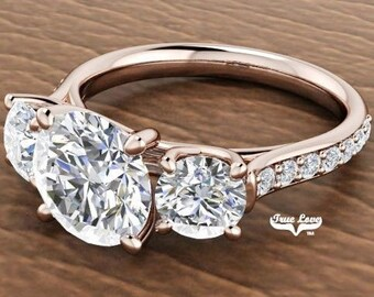 Moissanite Engagement Ring  Center stone from .50 up to 6 Carat 14 kt Rose Gold, Pictures shown with 8 mm 2 Carat center Stone  #6997