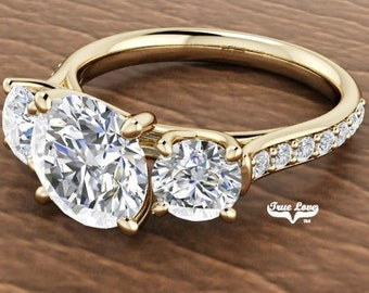 Moissanite Engagement Ring  Center stone from .50 up to 6 Carat 14 kt Yellow Gold, Pictures shown with 8 mm 2 Carat center Stone#7040