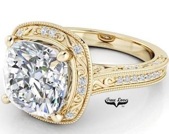 3 Carat Moissanite Engagement RingTrek #1 quality D-E-F or G-H Color  14kt Yellow Gold,Decorative,Cushion Cut Halo Style, Side Diamonds#8290