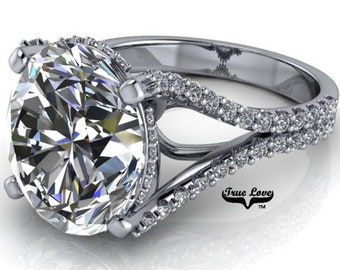 Oval Moissanite Engagement Ring from 1.50 up to 6 Carat Trek Quality #1 VVS Clarity  D-E Colorless or G-H near Colorless,Platinum #8367P