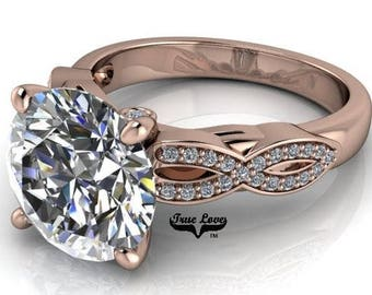 Moissanite Engagement Ring 2,3 or 4 Carat Trek Quality #1 D-E Colorless or GH Near Colorless  Wedding Ring, 14kt Rose Gold #6932