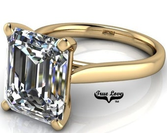 Engagement Ring 14 kt Yellow Gold. Moissanite Trek Quality #1 VVS Clarity  D-E colorless or G-H near Colorless  1-1.5-2-3, or 4 Carat #6791