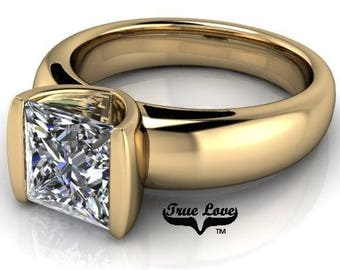 1 2 or 3 Carat Trek Quality #1 Moissanite  Brand True Love Engagement Ring 14kt Yellow Gold  Wedding Ring, Solitaire  #7218