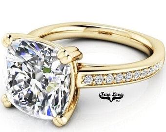 3 Carat 9 mm Trek Quality #1 D-E Color  Cushion cut Moissanite Engagement Ring, Side Moissanites 14kt Yellow Gold,  Wedding Ring, #8287