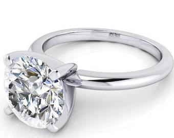 3.00 Carat 9 mm Trek Quality #1 D-E Color VVS Clarity Round Brilliant Cut Moissanite Engagement Ring 14kt White Gold,  Wedding Ring, #8304