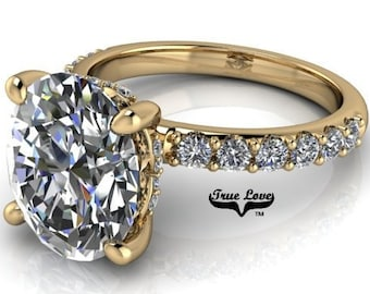 2,3 or 4 Carat Moissanite,TrekQuality #1 D-E Colorless or G-H Color VVS Clarity Oval Cut, Brand:True Love Eng. Ring 14 kt.Gold #8363YO