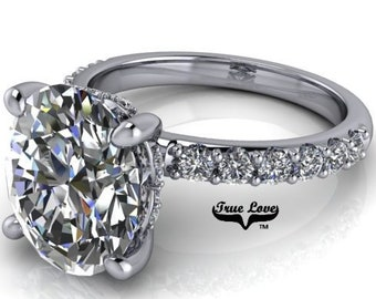 2,3 or 4 Carat Moissanite,TrekQuality #1 D-E Colorless or G-H Color VVS Clarity Oval Cut, Brand:True Love Eng. Ring 14 kt.Gold #8363WO