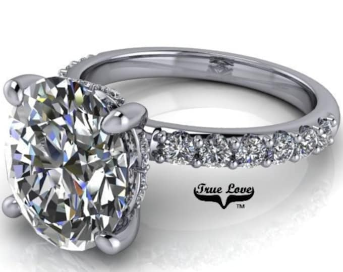 2,3 or 4 Carat Moissanite,TrekQuality #1 D-E-F Colorless or G-H Color VVS Clarity Oval Cut, Brand:True Love Eng. Ring 14 kt.Gold #8363WO