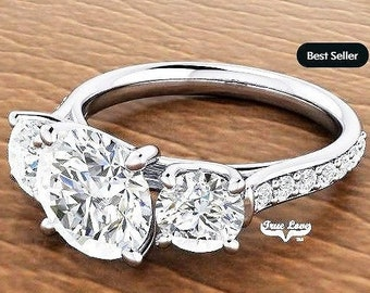 Moissanite Engagement Ring  Center stone from .50 up to 6 Carat Platinum, Pictures shown with 8 mm 2 Carat center Stone #7041P