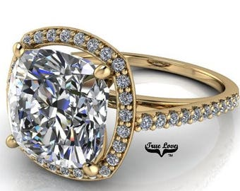 1.7,2.4,3.3 or 5 Carat Cushion Cut Moissanite Trek Quality #1 D-E Colorless or G-H Near Colorless, Eng. and Wedding Ring 14kt Gold #7056C