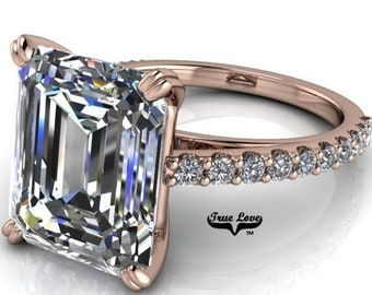 Moissanite Engagement Ring  Emerald Cut 1.5,2.5,3,4 or 6 Carat Trek Quality #1 VVS Clarity D-E Colorless or G-H near Colorless 14 kt #6819