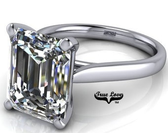 Engagement Ring Platinum. Moissanite Trek Quality #1 VVS Clarity  D-E colorless or G-H near Colorless  1-1.5-2-3, or 4 Carat #6737P