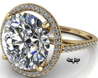 2,3,4,5,or6 Carat Moissanite Trek Quality #1 D-E Colorless or G-HNear Colorless, Engagement Ring and wedding band 14kt Yellow Gold #7056