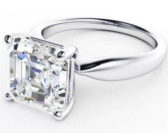 3 Carat Moissanite Trek quality #1  VVs Clarity D E F Color Assher Cut,14kt White Gold Solitairre,  Engagement Ring , Wedding Ring,   #8313