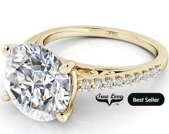 Moissanite Engagement 1,2,3 or 4 Carat Center Trek Quality #1 D-E Colorless or G-H near Colorless VVS Clarity,14 kt.Yellow Gold #8310YR