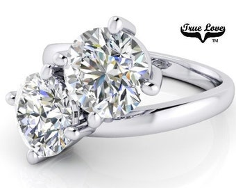 NEW! Two Stone 14  kt. White Gold 8 mm 4 Carat Total weight  Round Brilliant Cut Trek Quality #1 Moissanite Engagement Ring #7769