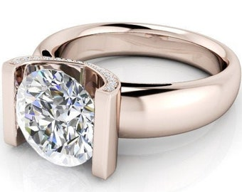 3.00 Carat 9 mm Trek Quality #1 D-E Color VVS Clarity Round Brilliant Cut Moissanite  Engagement Ring 14kt Rose Gold, Wedding Ring, #8309