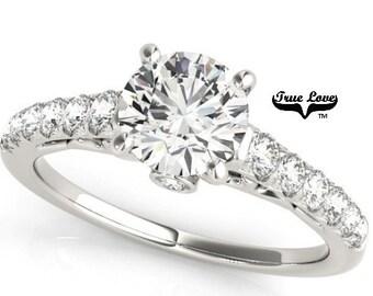 Moissanite 1 Carat Center Trek Quality # 1 VVS D-E Color Engagement Ring 14kt White Gold, Wedding Ring, Side Moissanites GH color VVS #7351