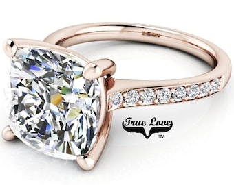 5 Carat Moissanite Engagement Ring Trek Quality #1 D-E-F or G-H Color VVS Clarity as Listed Cushion Cut 14kt Rose Gold,  Wedding Ring, #8320