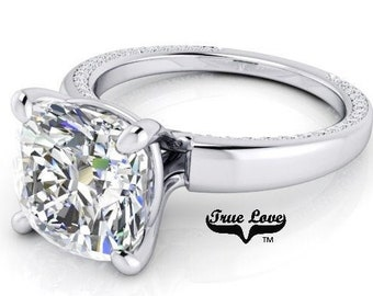 1 2,4,5,7&9 Carat Cushion Cut Moissanite Engagement Ring Trek Quality #1 D-E-F or G-H Color VVS Clarity as Listed  14kt White Gold #7143