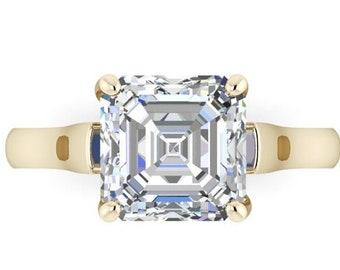 Moissanite Engagement Ring  Asscher Cut  Trek Quality #1 from .80 to 1.75 Carat  Asscher Cut ,14 kt Yellow Gold  #6892