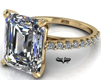 Moissanite Engagement Ring  Emerald Cut 1.5,2.5,3,4 or 6 Carat Trek Quality #1 VVS Clarity D-E Colorless or G-H near Colorless 14 kt #6821