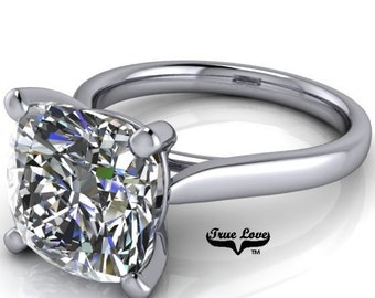 Moissanite Cushion Cut Trek Quality #1 1.25 ,1.5,2.5,4 or 5 Carat VVS Clarity D-E colorless or G-H Near Colorless, Platinum Eng. Ring #6837P