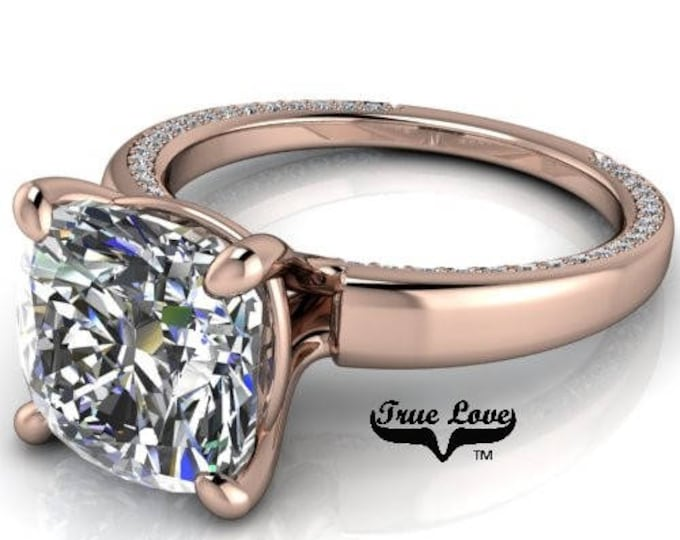 Featured listing image: 1 2,4,5,7&9 Carat Cushion Cut Moissanite Engagement Ring Trek Quality #1 D-E-F or G-H Color VVS Clarity as Listed  14kt Rose Gold #7146