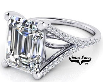 5  Carat Emerald  Cut Moissanite Engagement Ring Trek Quality #1 D-E-F or G-H ColorVVS Clarity as listed 14kt White Gold, Wedding Ring,#8321