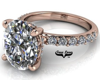 2,3 or 4 Carat Moissanite,TrekQuality #1 D-E Colorless or G-H Color VVS Clarity Oval Cut, Brand:True Love Eng. Ring 14 kt.Gold #8363RO