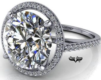 2,3,4,5,or6 Carat Moissanite Trek Quality #1 D-E Colorless or G-HNear Colorless, Engagement Ring and wedding band 14kt White Gold  #7057