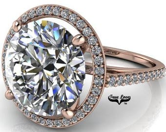2,3,4,5,or6 Carat Moissanite Trek Quality #1 D-E Colorless or G-H Near Colorless, Engagement Ring and wedding band 14kt Rose Gold    #6985R