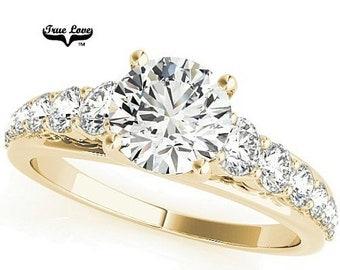 Moissanite Engagement Ring 14kt Yellow Gold, Wedding Ring, Decorative Moissanites #7637