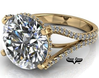 Moissanite Engagement Ring  from 1.50 up to 6 Carat Trek Quality #1 VVS Clarity  D-E Colorless or G-H near Colorless,14 kt Yellow Gold #7087