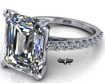 Moissanite Engagement Ring Emerald Cut 1.5,2.5,3,4 or 6 Carat Trek Quality #1 VVS Clarity D-E Colorless or GH near Colorless Platinum #6820P