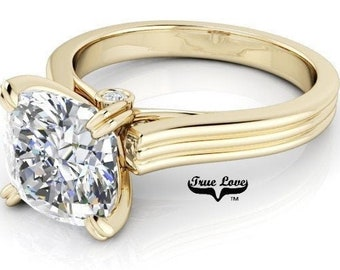 Moissanite 1, 1.25, 1.5 or 2 Carat Trek Quality #1 D-E Colorless or G-H Near Colorless. Engagement Ring 14 kt Yellow Gold #6794