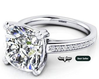 3 Carat 9 mmTrek Quality #1 D-E Color  Cushion cut Moissanite Engagement Ring with side diamonds 14kt White Gold,  Wedding Ring, #8286