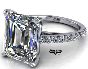 Moissanite Engagement Ring  Emerald Cut 1.5,2.5,3,4 or 6 Carat Trek Quality #1 VVS Clarity D-E Colorless or G-H near Colorless 14 kt #6820