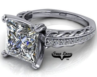 Princess Cut Moissanite Engagement Ring from 1.8 up to 3.2 Carat center , Trek Quality #1,D-E Colorless VVS Clarity Platinum #6784P