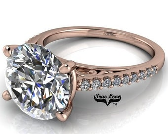 Moissanite Engagement 1,2,3 or 4 Carat Center Trek Quality #1 D-E Colorless or G-H near Colorless VVS Clarity,14 kt.Rose Gold #8310RR