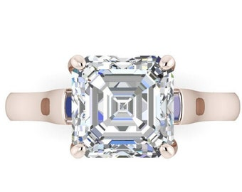 Moissanite Engagement Ring  Asscher Cut  Trek Quality #1 from .80 to 1.75 Carat  Asscher Cut ,14 kt White Gold  #6893