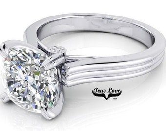 Moissanite 1, 1.25, 1.5 or 2 Carat Trek Quality #1 D-E Colorless or G-H Near Colorless. Engagement Ring Platinum  #7140P