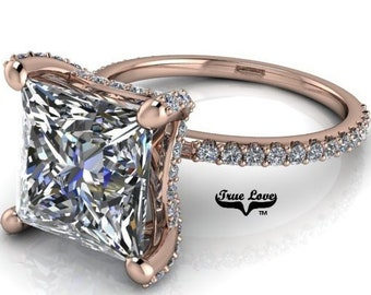 Moissanite Engagement Ring 14 kt Rose Gold, from 1 up to 4 Carat Princess Cut trek Quality #1 , D-E Colorless VVS Clarity   #8352