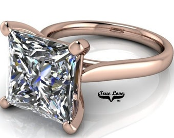 Moissanite Engagement Ring 14 kt Rose Gold, from 1.25 up to 5 Carat Trek Quality #1 VVS Clarity D-E Colorless or G-H Near Colorless  #6776